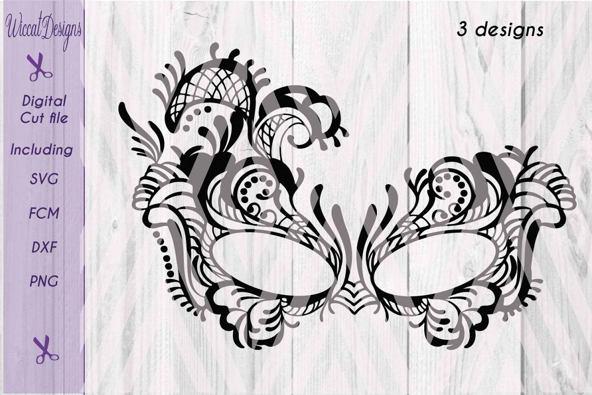 Lace mask, Masquerade Mask svg, Tattered Lace Mask svg, Masked ball svg, fcm files, girls svg, example image 1