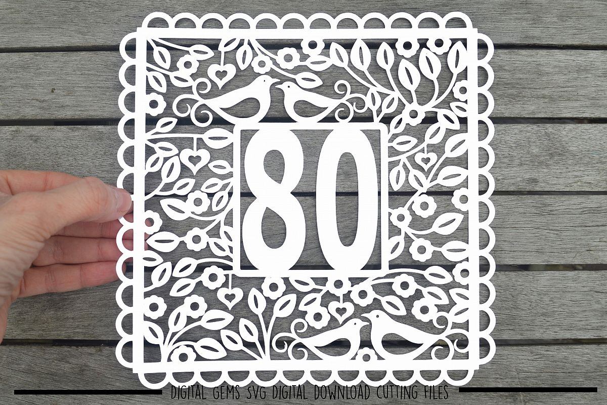 Number 80 paper cut SVG / DXF / EPS files example image 1