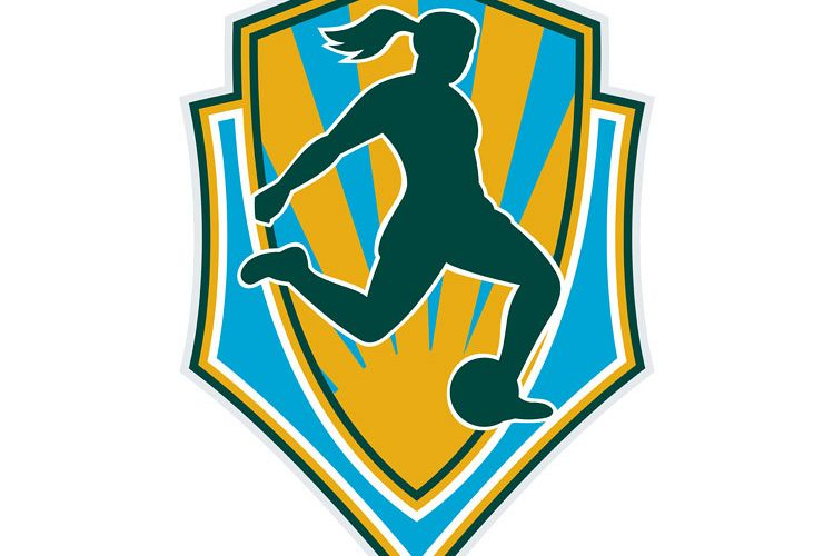 soccer player woman kicking ball shield example image 1