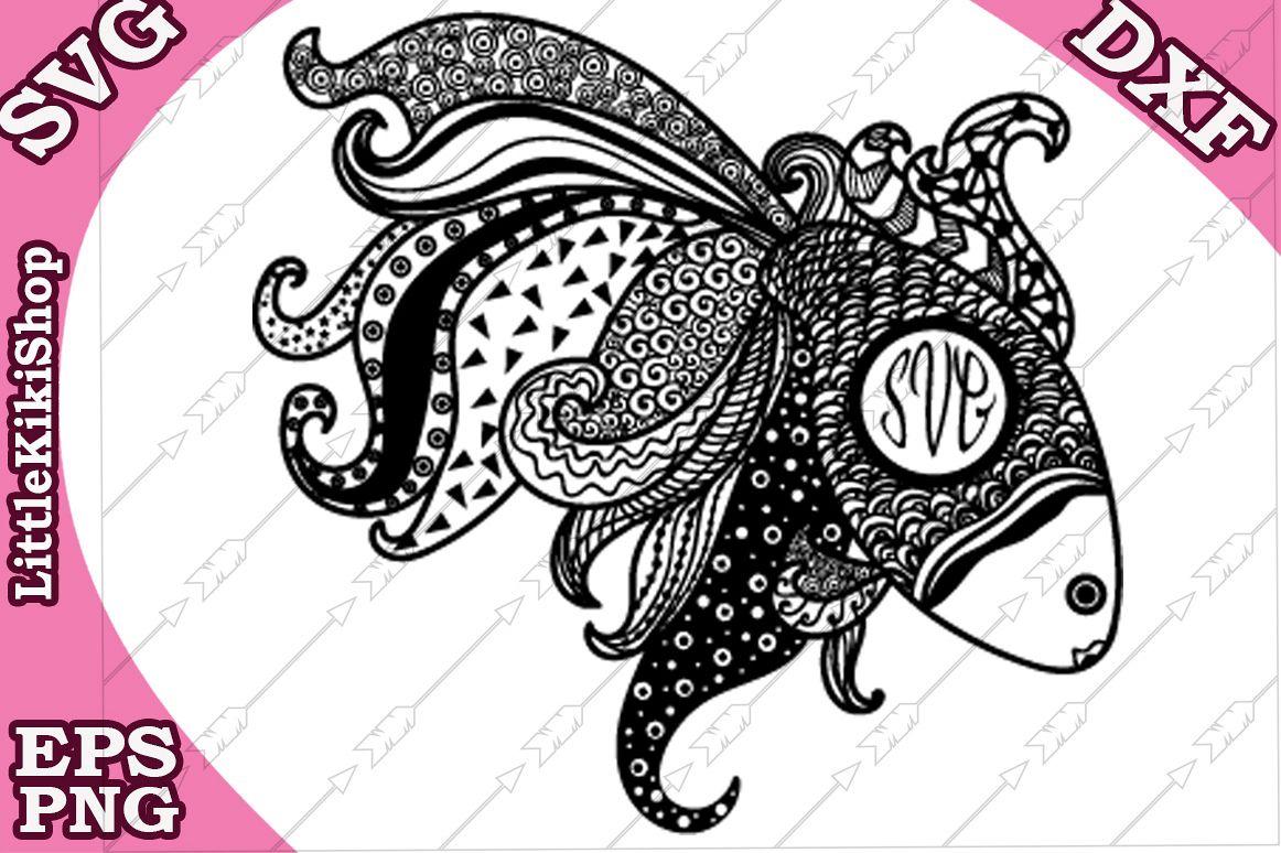 Zentangle Gold Fish Svg, Mandala Fish Svg, Monogram gold fi example image 1