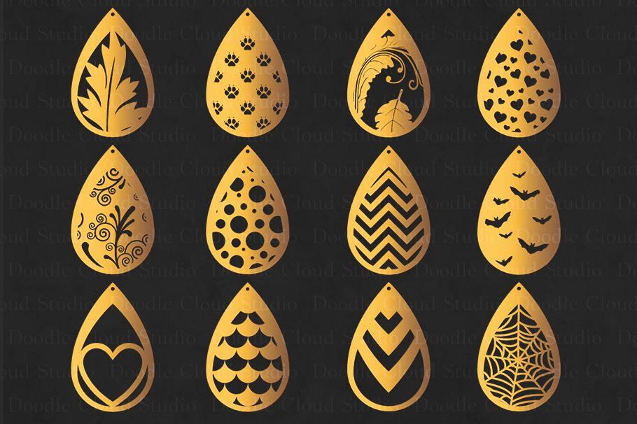 earring template svg pendant svg tear drop earrings cut files