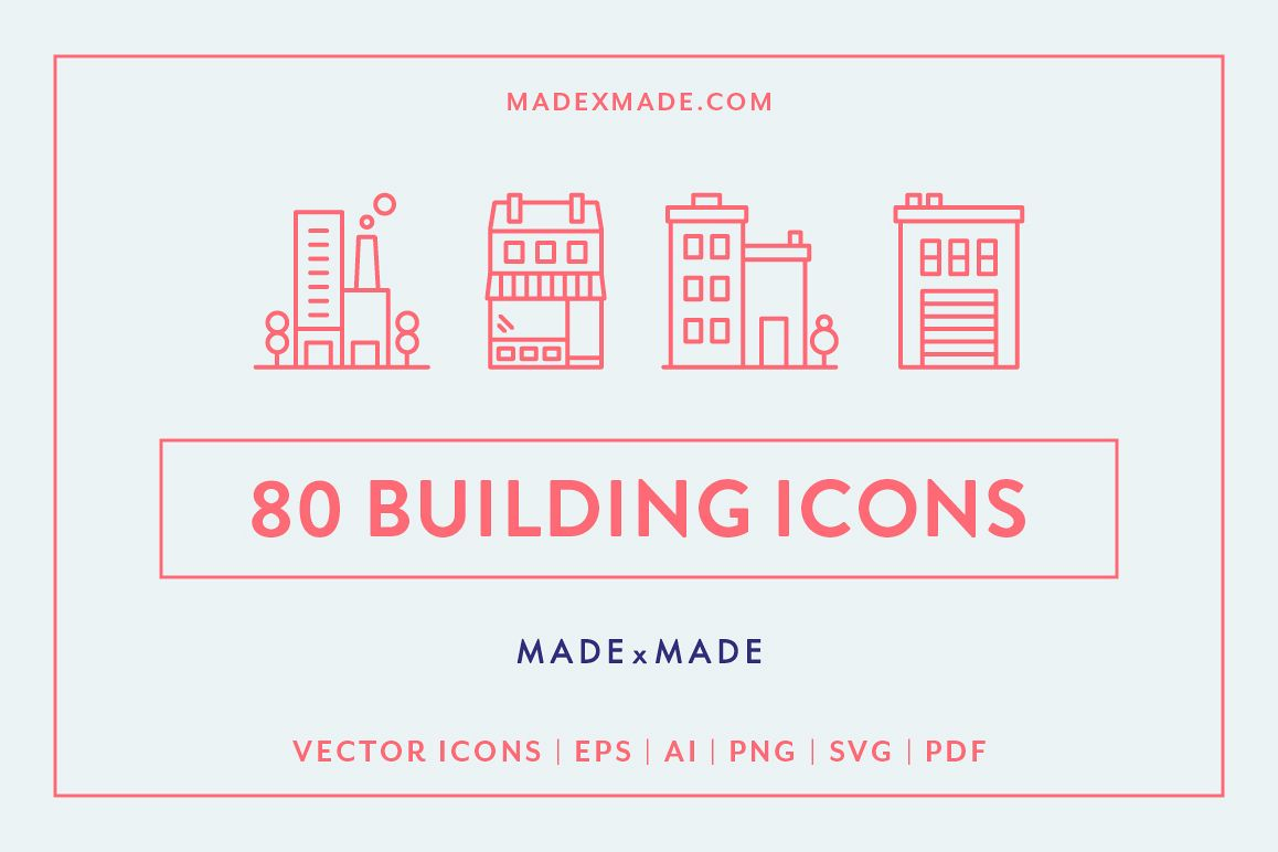 Line Icons - Buildings example image 1