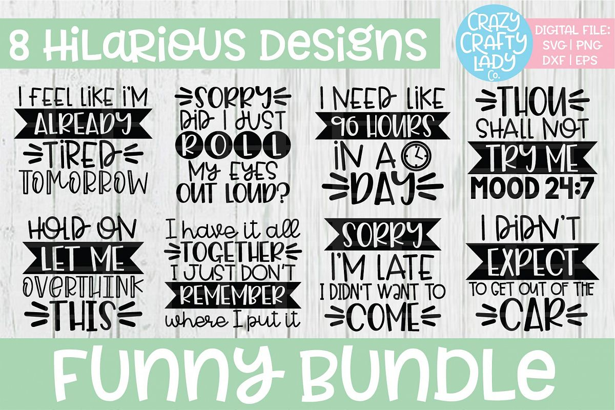 Funny Bundle SVG DXF EPS PNG Cut File example image 1