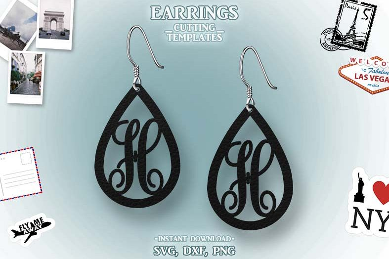 Letter H, Teardrop Monogram Earrings, SVG, Cut File, Cricut example image 1