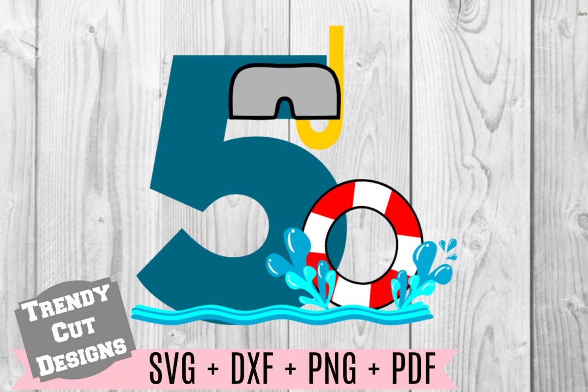 Pool Party Number 5th Birthday SVG example image 1