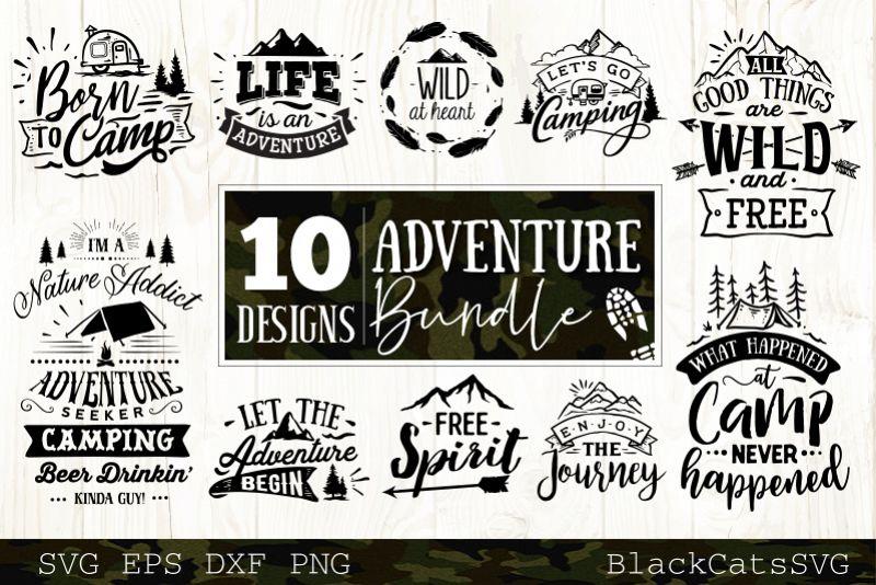 Adventure SVG bundle 10 designs Mountains SVG bundle example image 1