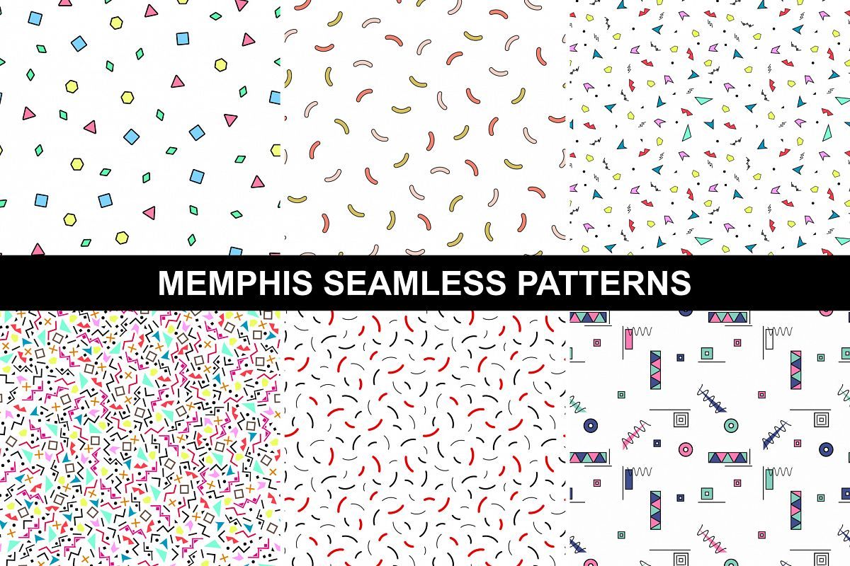 Colorful Memphis Patterns - seamless example image 1