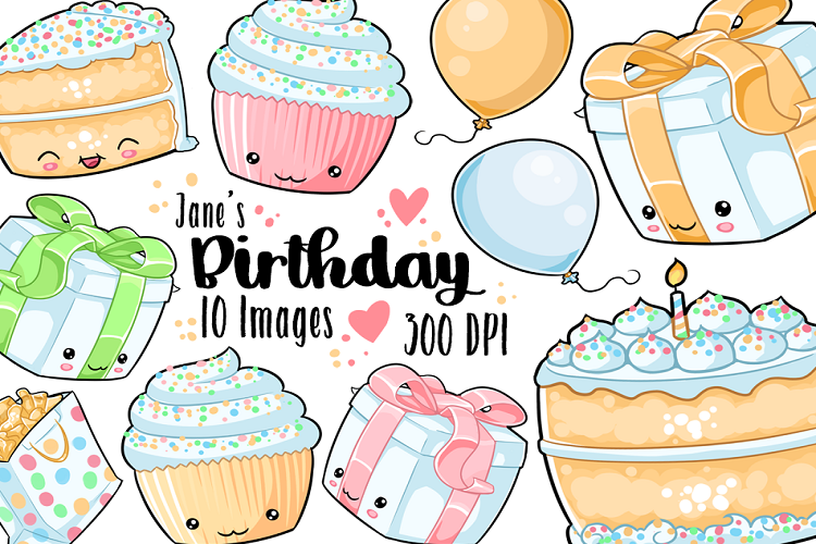 Birthday cake kawaii. Rainbow clipart