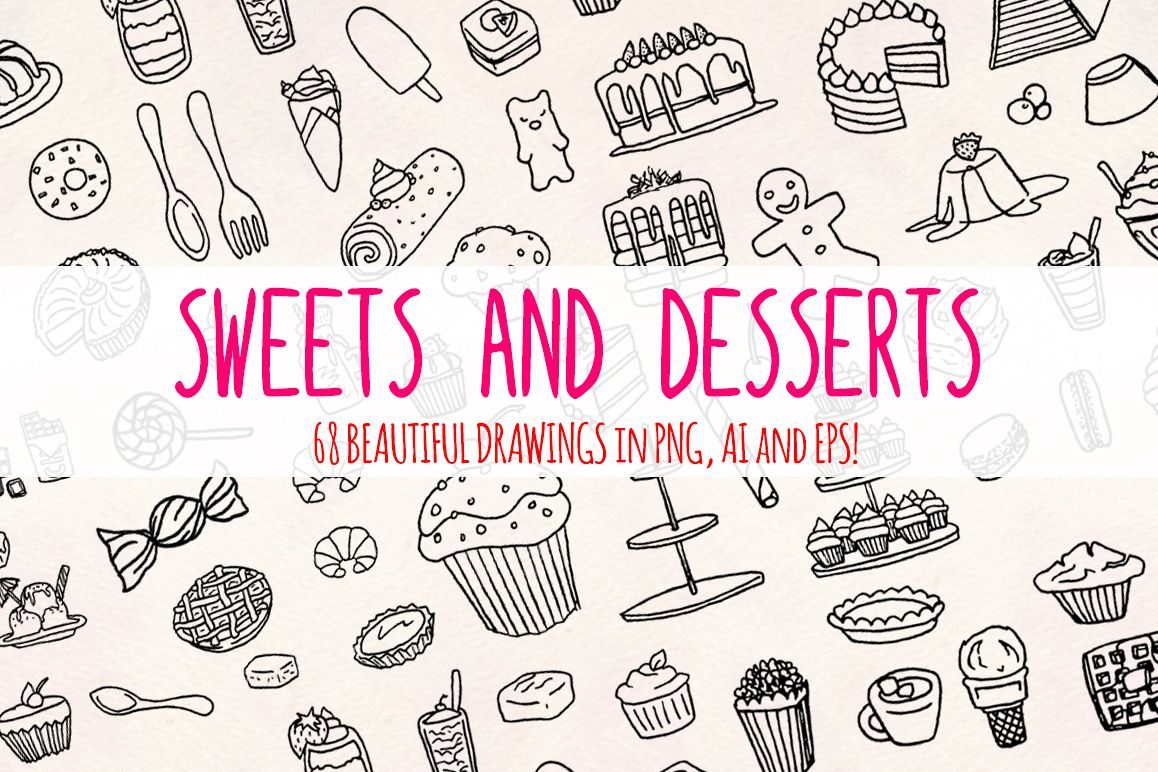 68 Sweets, Cakes and Desserts Graphic Vector Sketch example image 1