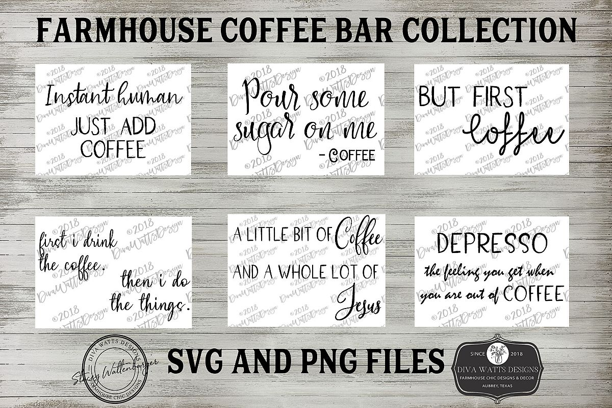 Farmhouse Coffee Bar Funny Sign Bundle of Cutting Files example image 1