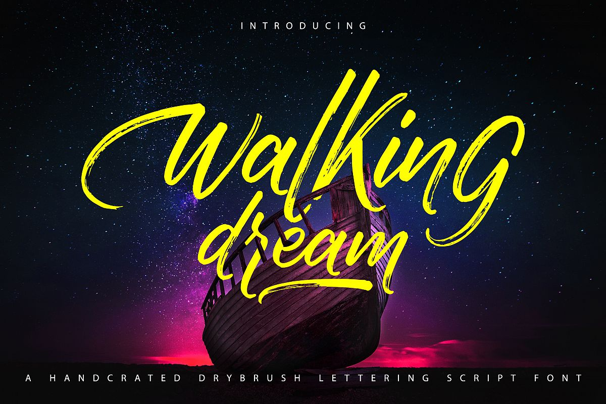 Walking Dream | A Handcrafted Drybrush Lettering Script Font example image 1