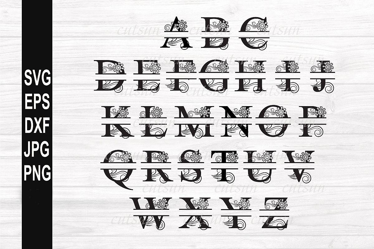 Split Monogram SVG Snowflake | Split letters SVG example image 1