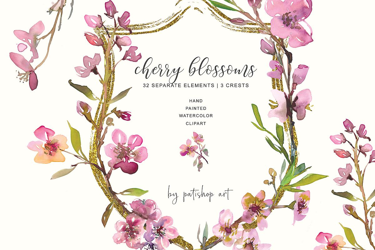 Hand Painted Watercolor Cherry Blossoms Clipart example image 1