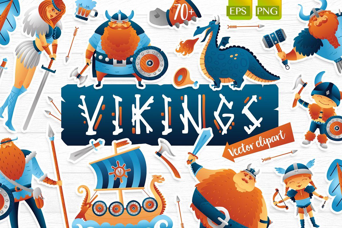 Vikings vector clip art illustration example image 1