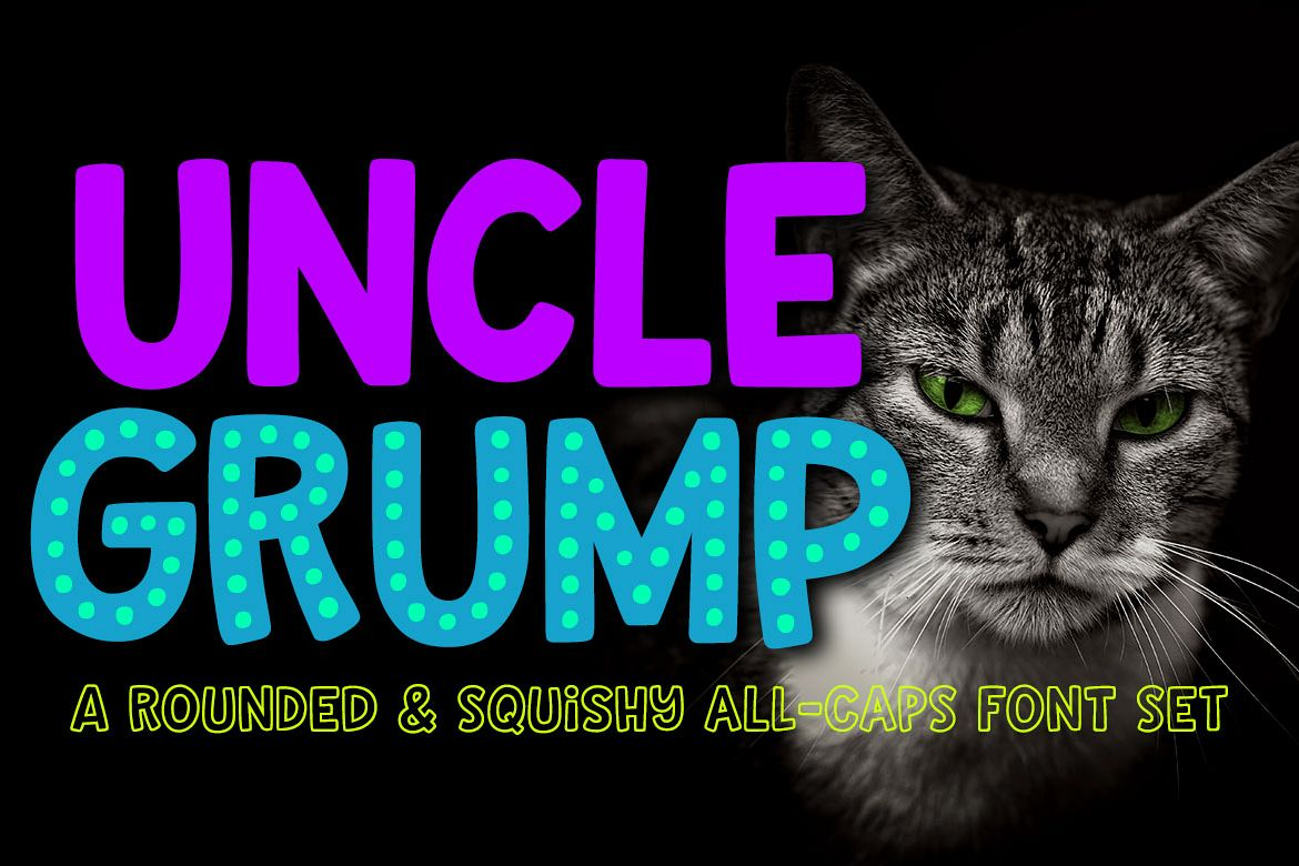 Uncle Grump a rounded all-caps font! example image 1