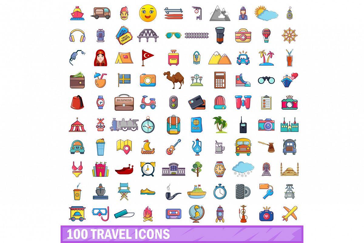 100 travel icons set, cartoon style example image 1