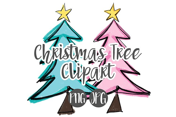 Hand Drawn Christmas Tree Clipart example image 1