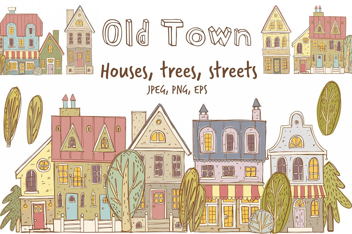 Old town buildings and streets example image 1