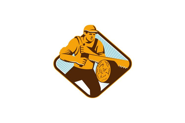 Lumberjack logger forrester sawing with cross-cut saw retro example image 1