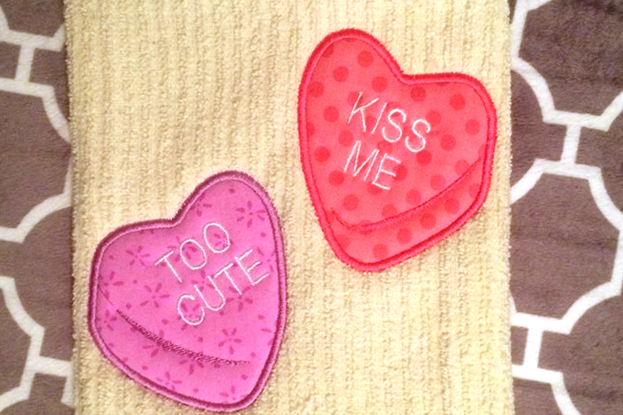 Candy conversation hearts applique embroidery design