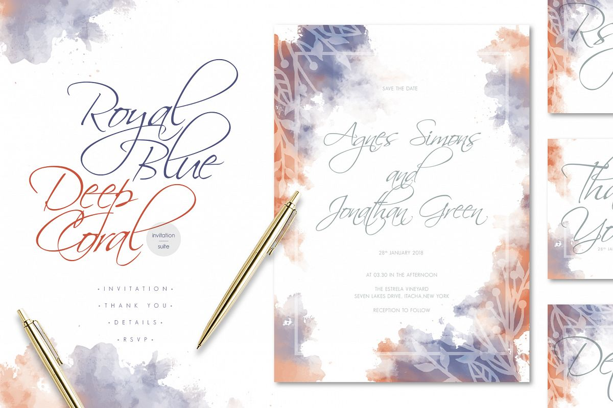 Royal Blue Deep Coral Watercolore Wedding Invitation Suite Example Image 1