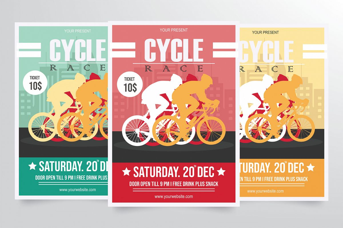 Road Bicycle Racing Flyer Template example image 1