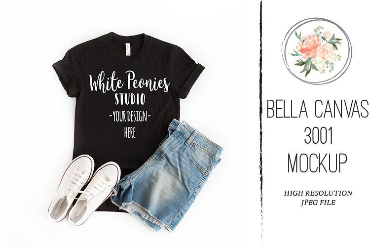 Black Bella Canvas 3001 Shirt Mockup with Shorts example image 1