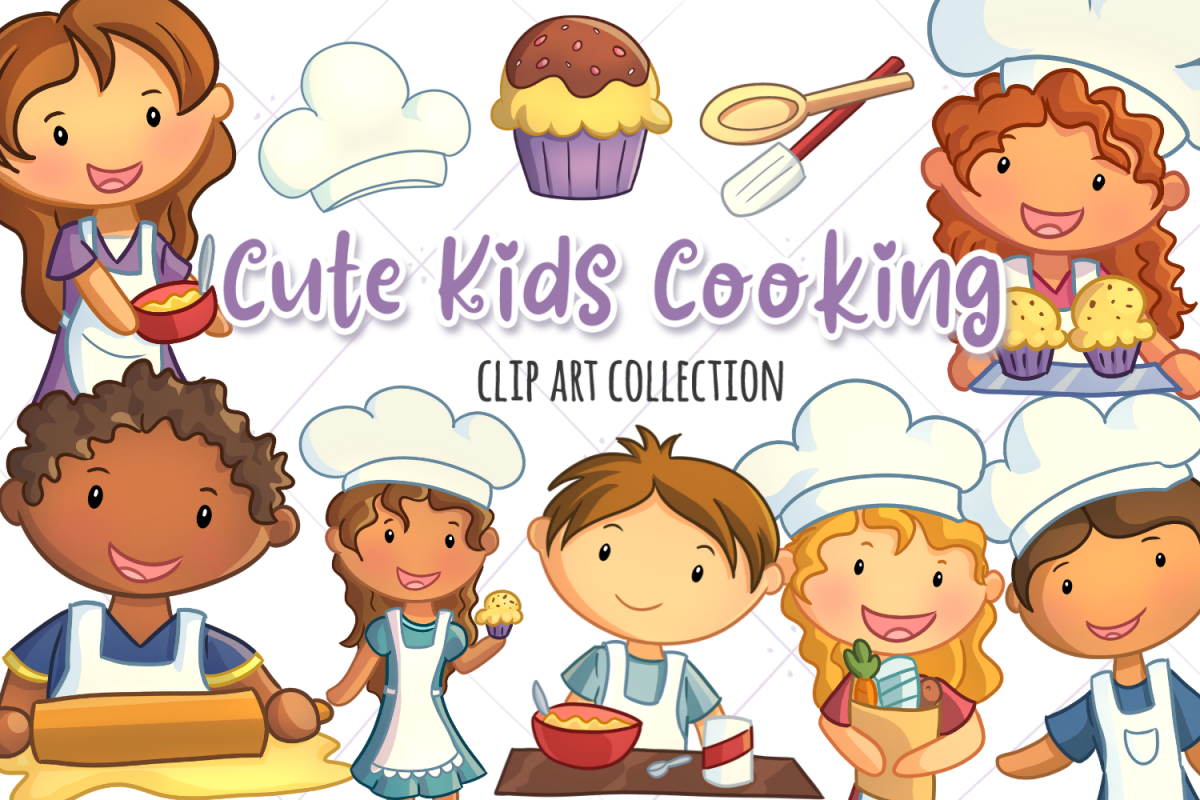 Cute Kids Cooking Illustrations example image 1