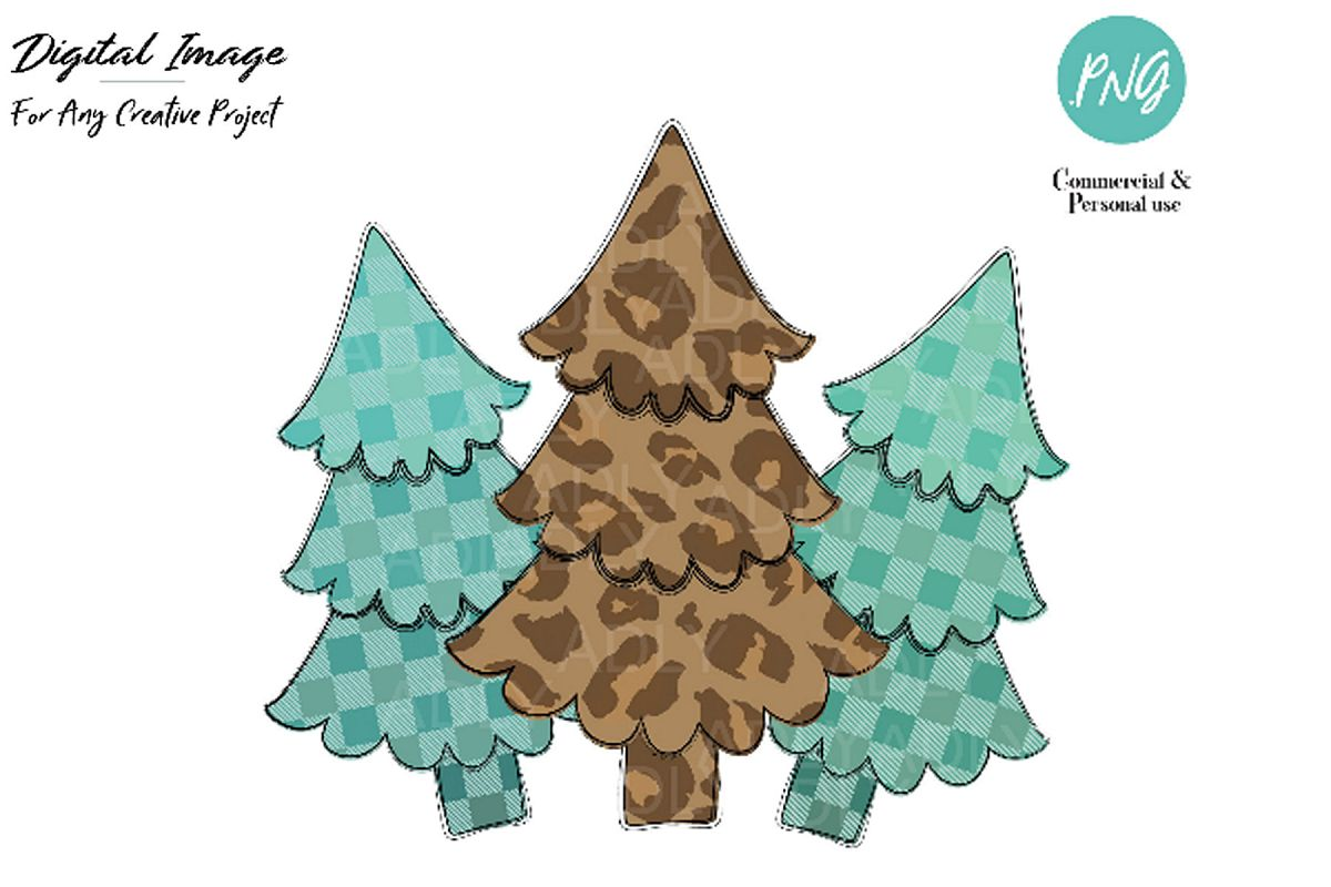 Christmas Tree Art.Christmas Tree Design Christmas Sublimation Leopard Clip Art