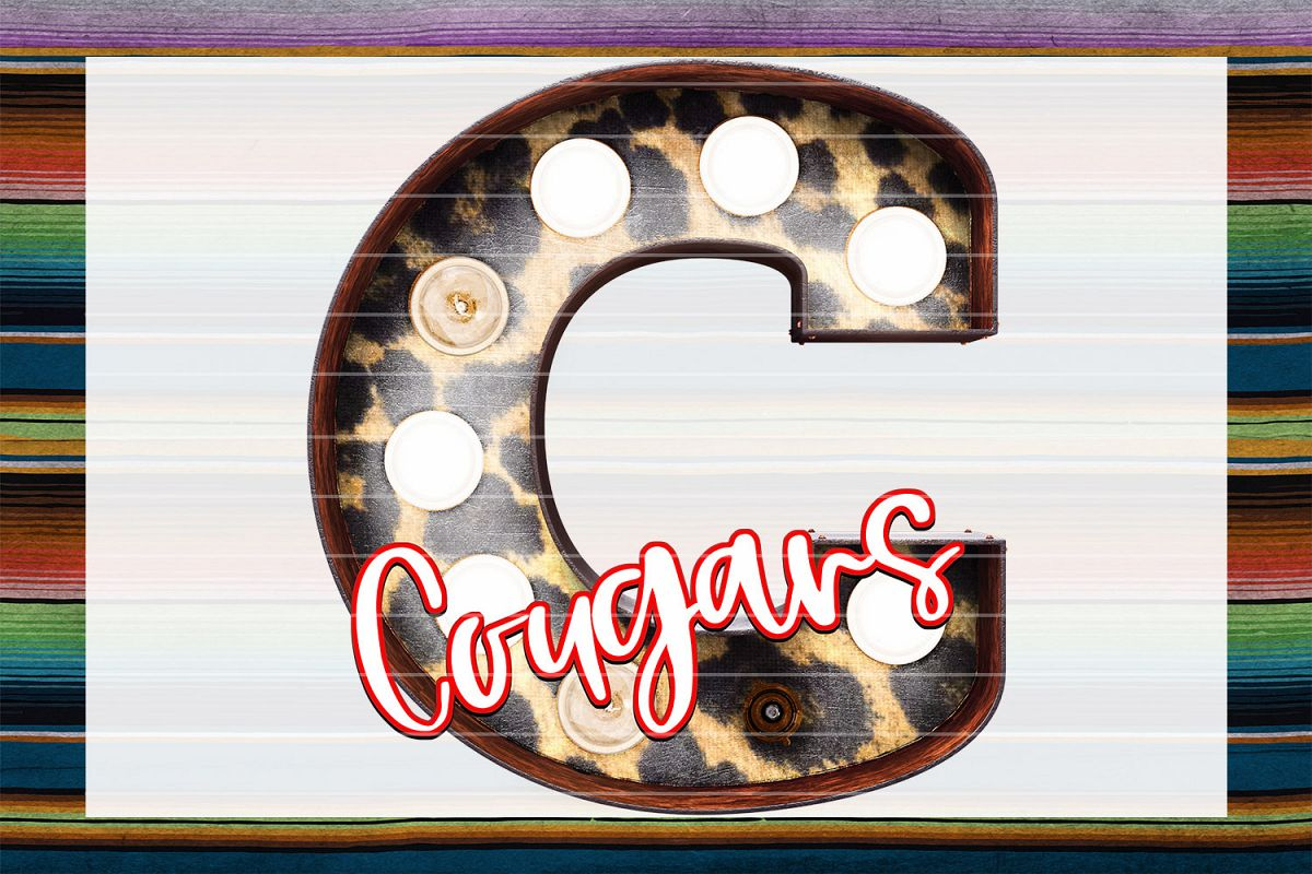 Cougars Leopard Marquee Sublimation PNG example image 1