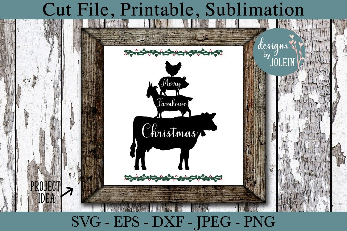 Merry Farmhouse Christmas SVG, png, eps, DXF, sublimation example image 1