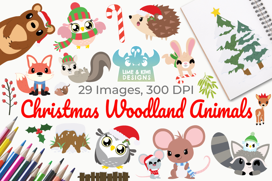 Christmas Woodland Animals Clipart, Instant Download example image 1