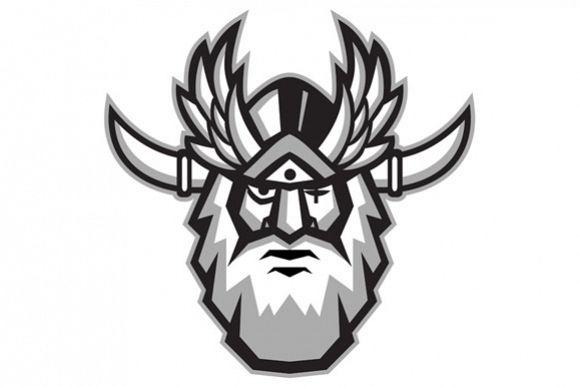 Norse God Odin Head Retro example image 1