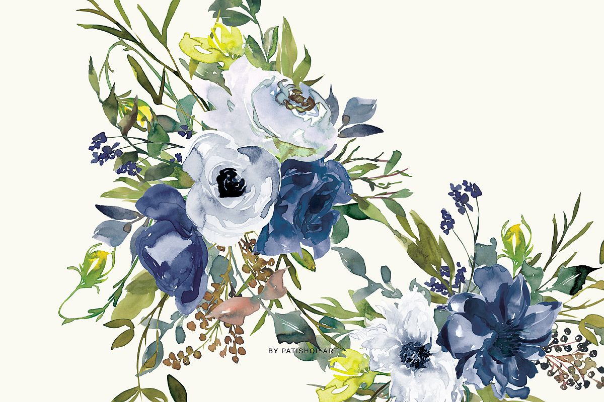 Watercolor Navy White And Yellow Floral Bouquet Clipart