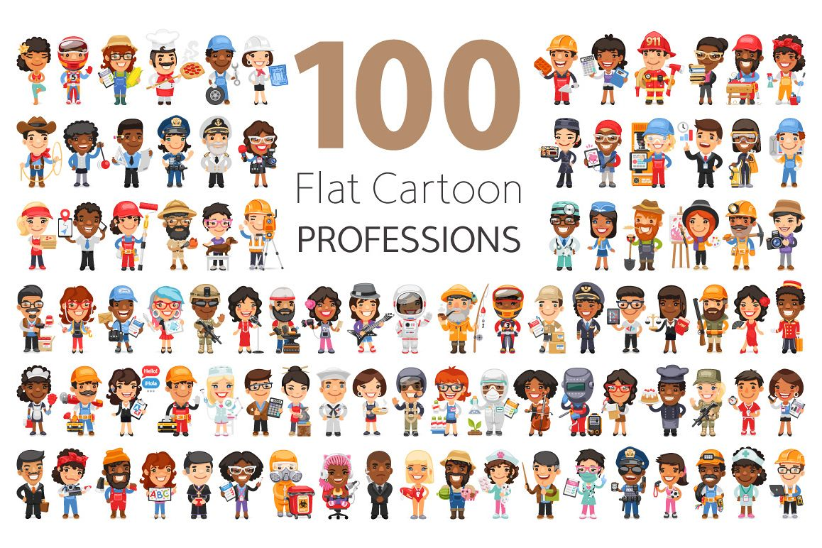 100 Professions Flat Characters example image 1