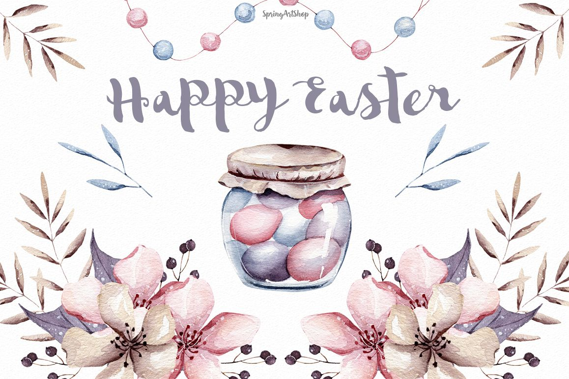 Easter watercolor. Happy clipart pastel flower