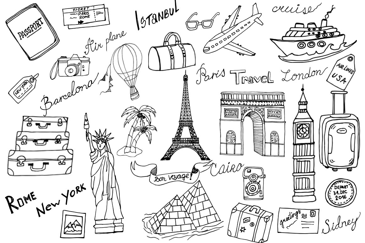 Doodle Travel Clipart Example Image