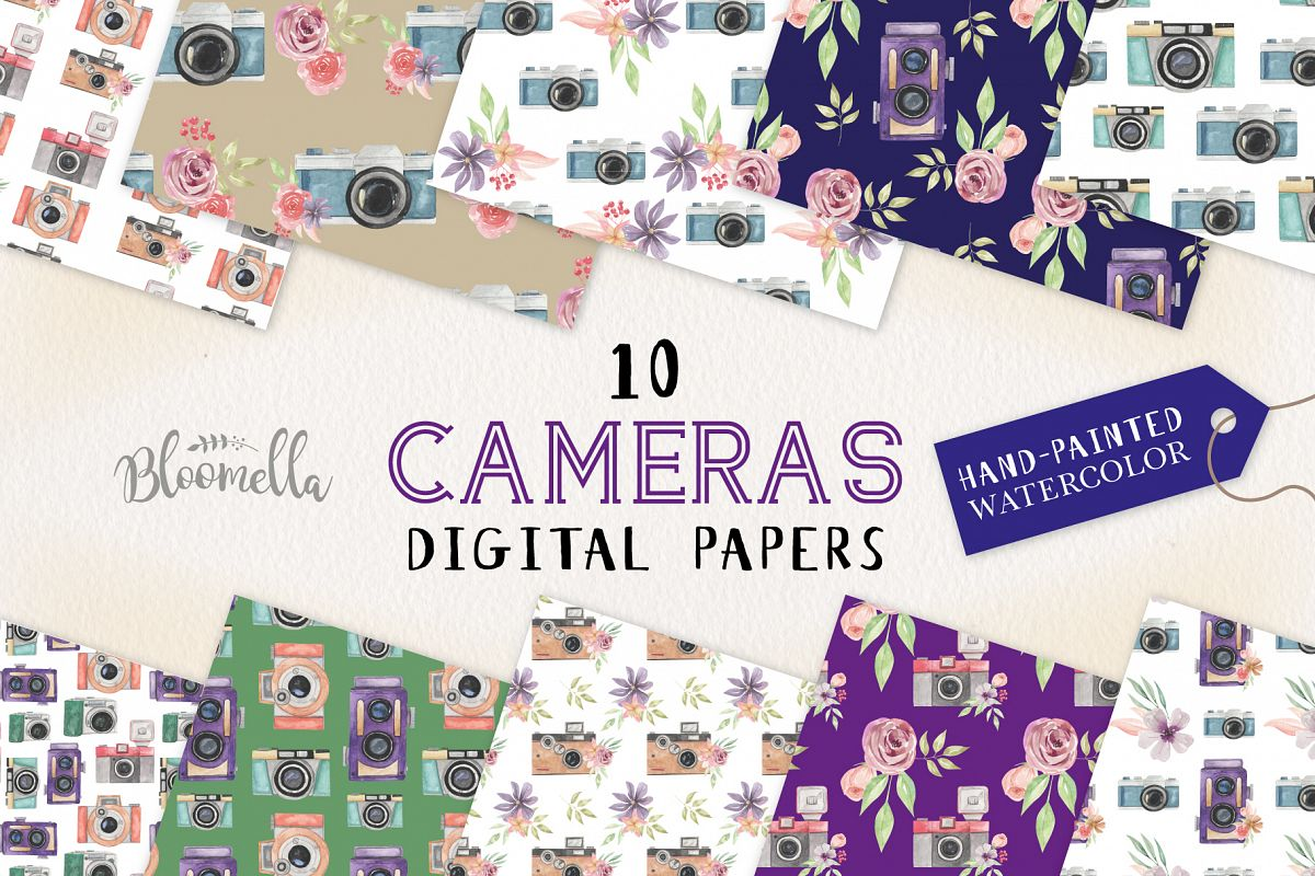 Camera Seamless Patterns Digital Papers Watercolor Photo example image 1