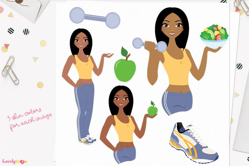 Woman workout character clip art L086 Layla example image 1