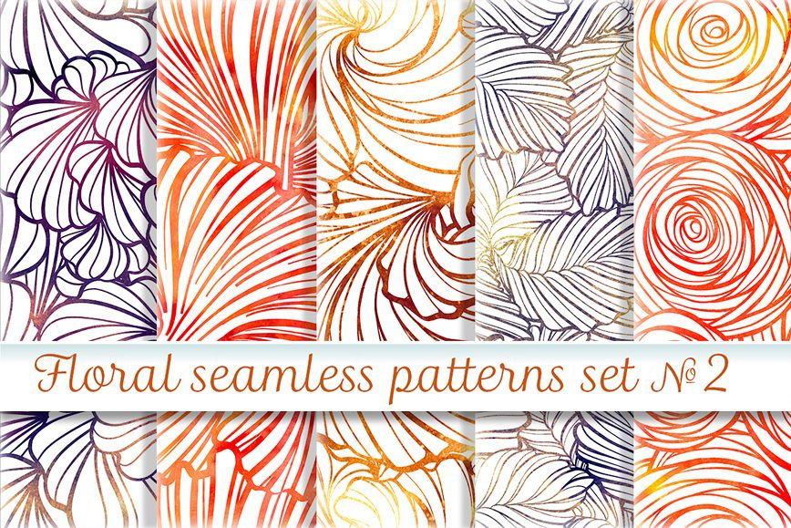 Floral seamless patterns set #2 example image 1