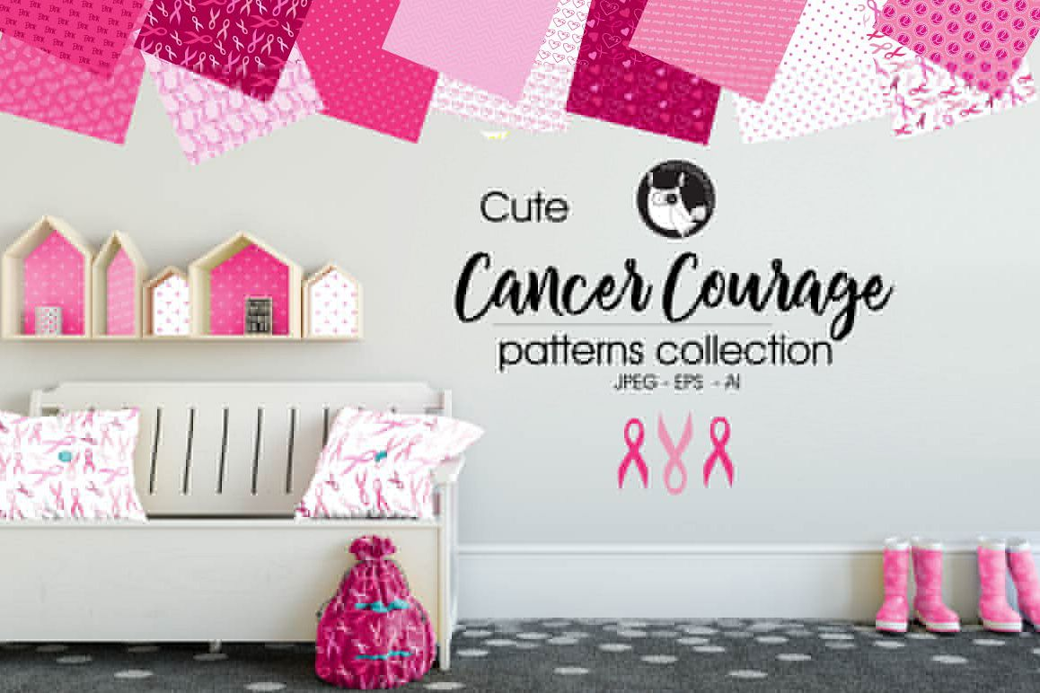 CANCER-COURAGE, digital papers example image 1
