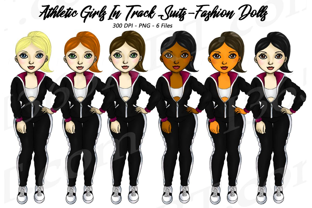 Fitness Girls in Jogging Suits Clipart Digital Graphics example image 1