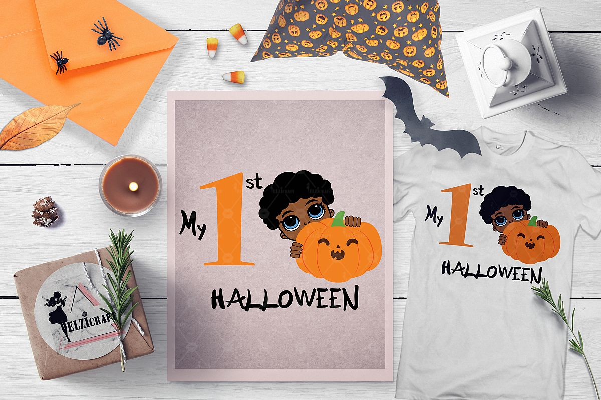 My 1st Halloween Afro Peeking Boy Pumpkin Smile SVG Cut File example image 1