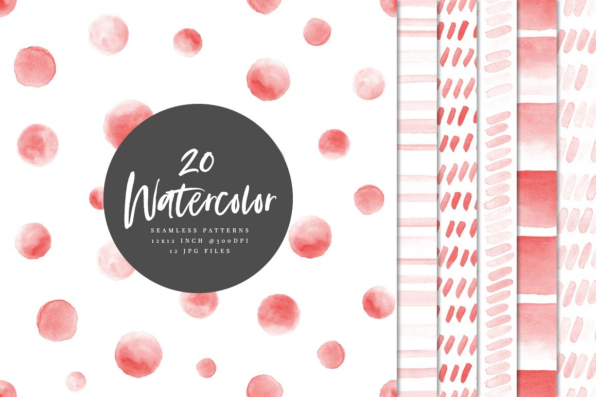 20 Seamless Watercolor Patterns Red example image 1