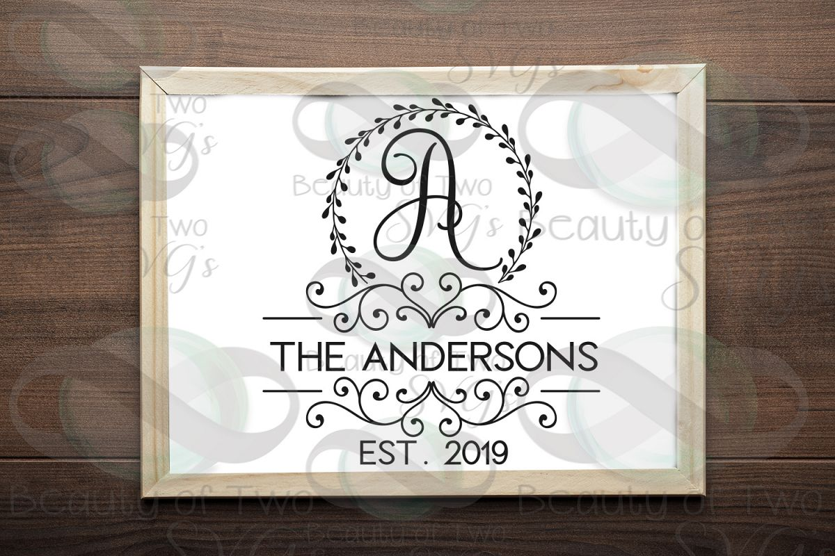 Last Name Monogram initial wreath svg, a-z monogram included example image 1