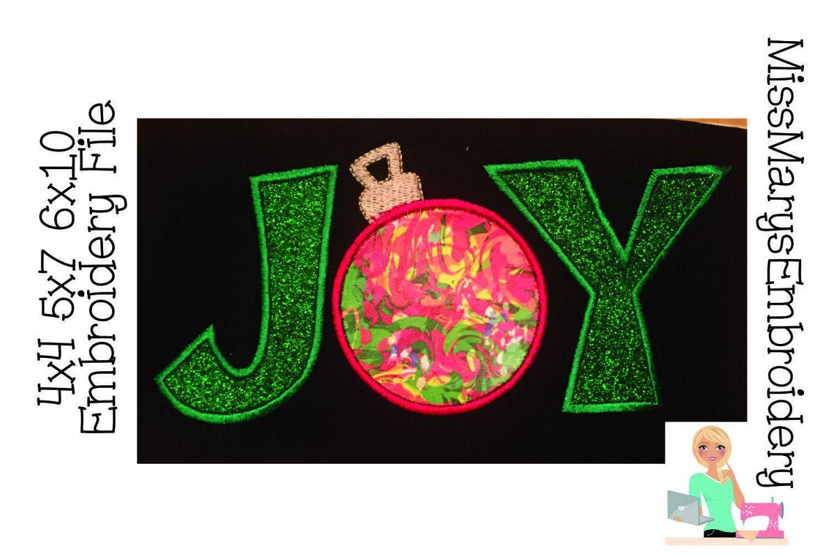 Ornament Joy Applique Embroidery Design example image 1