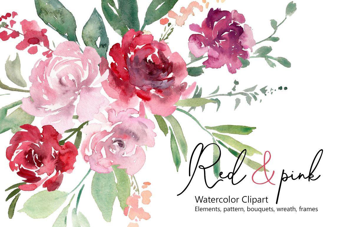 Watercolor Red Blush Pink Flowers And Arrangements 534463