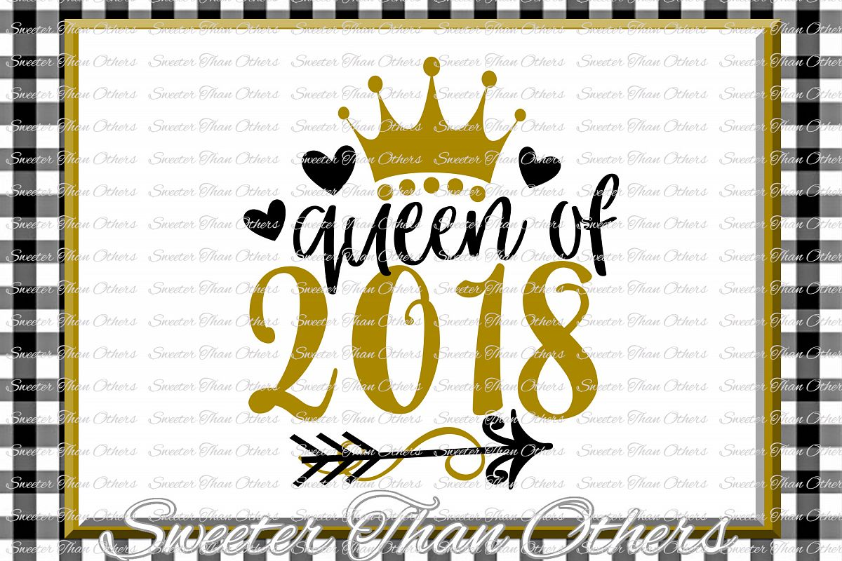 Queen of 2018 svg, New Year 2018 SVG example image 1