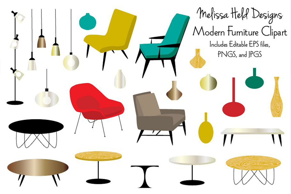 Modern Furniture Clipart example image 1