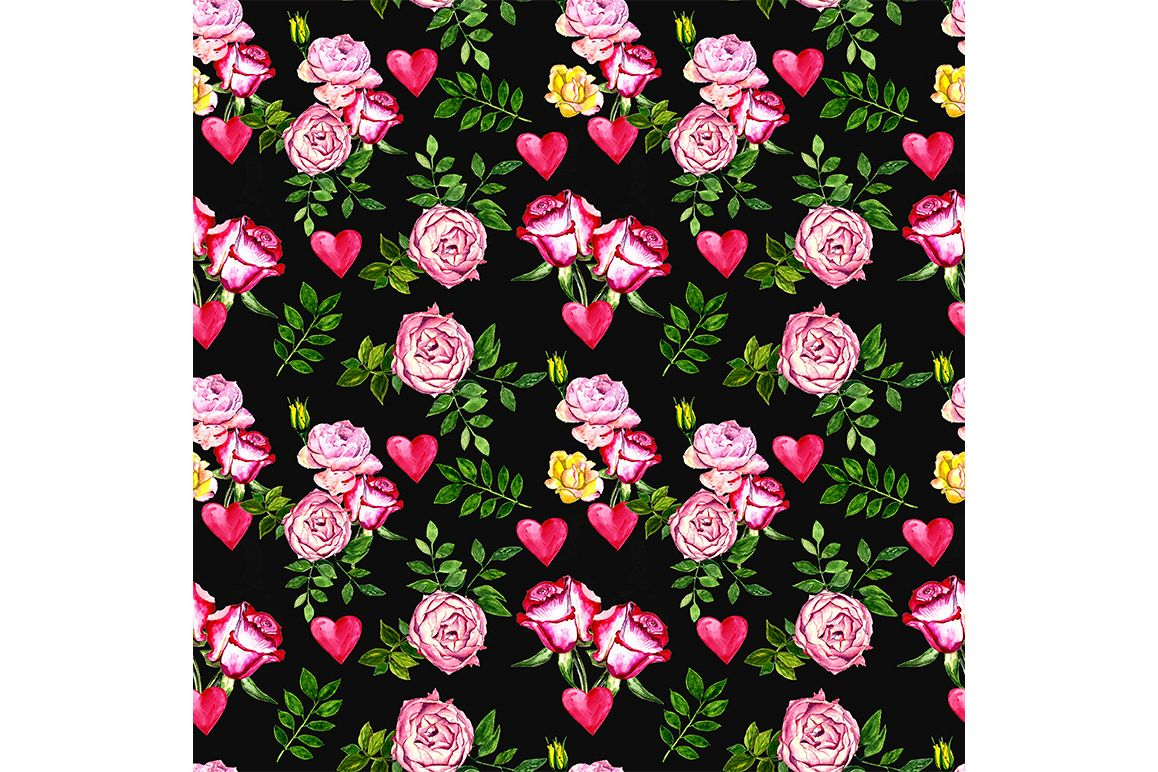 Seamless Love pattern with roses and heart example image 1